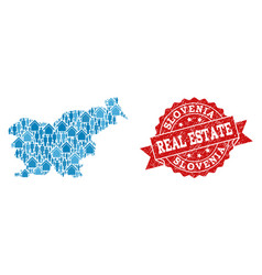 Real estate composition of mosaic map of slovenia vector