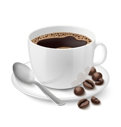 Realistic white cup filled with espresso vector