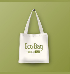 Realistic white empty textile tote bag vector