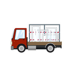 Red truck with glass on a white background vector