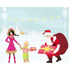 Santa claus distributes gifts vector