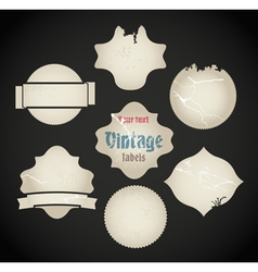 scratched vintage labels set vector image