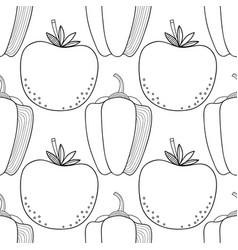 seamless black and white pattern with tomatoes and vector image
