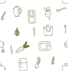 Seamless Doodle patterns items of kitchen vector image
