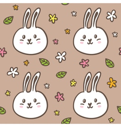 Seamless pattern with doodle rabbits and flowers vector image