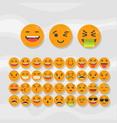 Set of cute fruit smiley orange emoticons vector