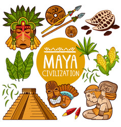 Set of icons for ancient maya culture vector