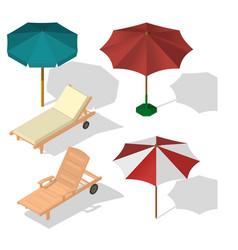 set umbrella on beach vector image