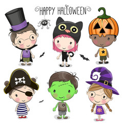 Set with cute halloween kids vector