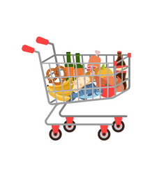 shopping cart full grocery trolley fruits and vector image