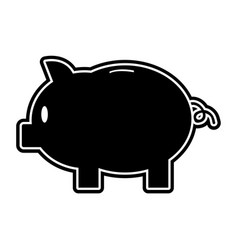 silhouette piggy with save money cash currency vector image