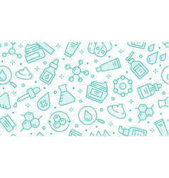 Skin care seamless pattern with line icons vector