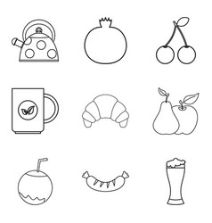 Soft tack icons set outline style vector