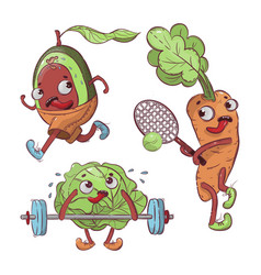 Sport vegetables cartoon t-shirt print vector