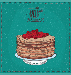 Thin pancakes with red berries on lacy napkin vector