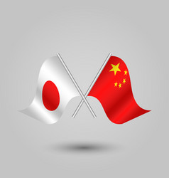 Two crossed japanese and chinese flags vector