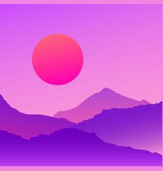 Vaporwave mountains landscape at sunset vector