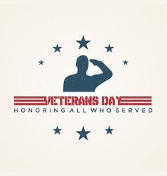 vintage design veterans day concept background vector image