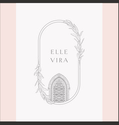 Vintage logo with gate and florals vector