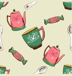 Vintage pattern with kettle cup and candy vector