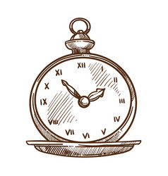vintage watch clock dial isolated sketch retro vector image