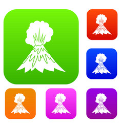 Volcano erupting set collection vector