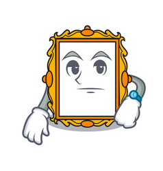 waiting picture frame mascot cartoon vector image