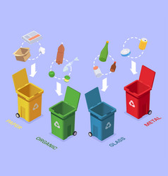 Waste separating bins composition vector