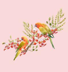 Watercolor tropical parrots composition vector