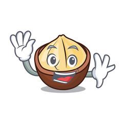waving macadamia character cartoon style vector image