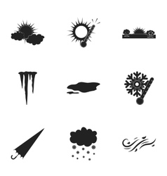 Weather set icons in black style Big collection vector