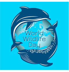 world wildlife day whale and dolphin on the vector image