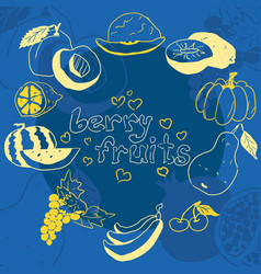 yellow doodles of fruits on a blue background vector image
