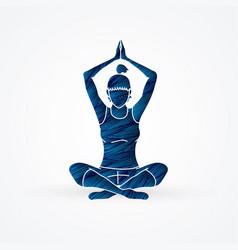 Yoga class a woman practice vector