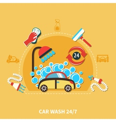24h Car Wash Composition vector image