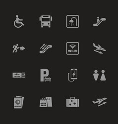 airport - flat icons vector image