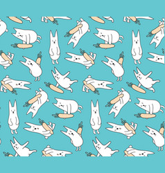 bunnies with carrots vector image vector image