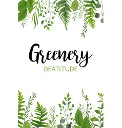 floral greenery vertical card design forest fern vector image