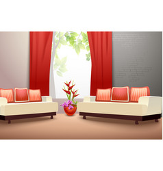 Interior design living room vector image vector image