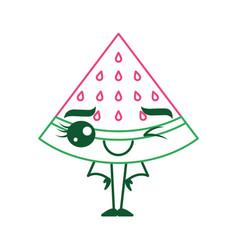 kawaii cartoon watermelon fruit funny character vector image