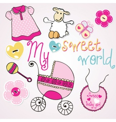 lovely elements for baby girl vector image