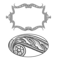 Ornate frame in vintage engraving style vector image vector image
