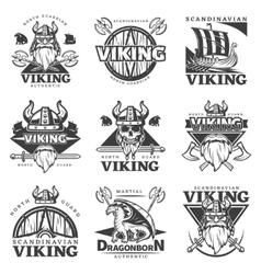 Vintage Viking Label Set vector image