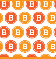white seamless pattern with bitcoins signs crypto vector image