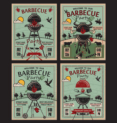 barbecue party invitation set vector image