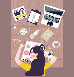 Busy woman designer artist taking a nap on working vector