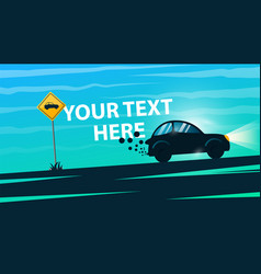 car road sign cartoon landscape vector image vector image