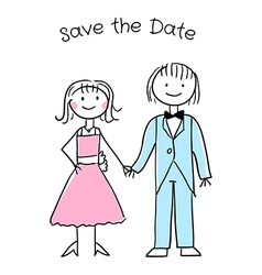 Cute cartoon wedding invitation template vector