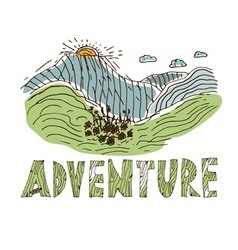 Hand drawn labels for adventure themes vector image