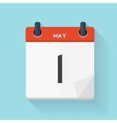 May 1 Calendar Flat Daily Icon vector image vector image